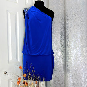 CACHE Royal Cocktail One shoulder Dress Sz 10